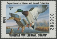 Scan of VA1 1988 Duck Stamp - First of State