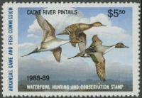 Scan of 1988 Arkansas Duck Stamps (2 stamps)