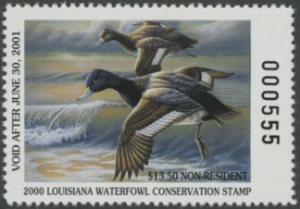 Scan of 2000 Louisiana Duck Stamp Non Resident