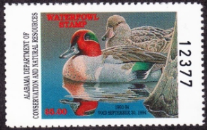 Scan of 1993 Alabama Duck Stamp