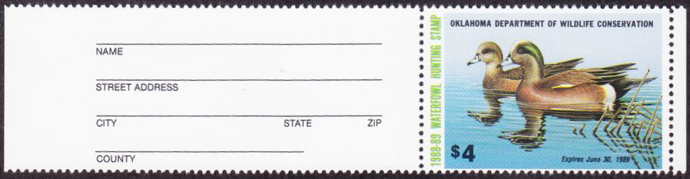 Scan of 1988 Oklahoma Duck Stamp Collector Type MNH VF