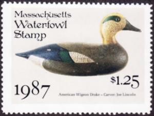 Scan of 1987 Massachusetts Duck Stamp