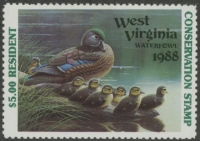 Scan of 1988 West Virginia Duck Stamp MNH VF