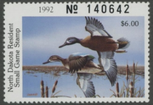 Scan of 1992 North Dakota Duck Stamp