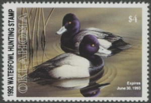 Scan of 1992 Oklahoma Duck Stamp