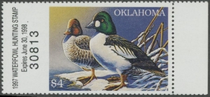 Scan of 1997 Oklahoma Duck Stamp MNH VF