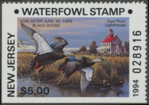 Scan of 1994 New Jersey Duck Stamp $5.00 Non-Resident Type
