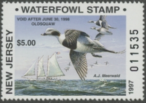 Scan of 1997 New Jersey Resident Duck Stamp