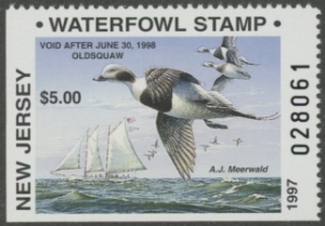 Scan of 1997 New Jersey Resident Duck Stamp Hunter Type
