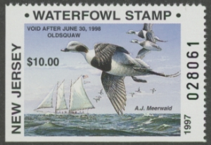 Scan of 1997 New Jersey Non- resident Duck Stamp Hunter Type