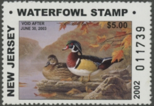 Scan of 2002 New Jersey $5 & $10 Duck Stamps Matching Numbers
