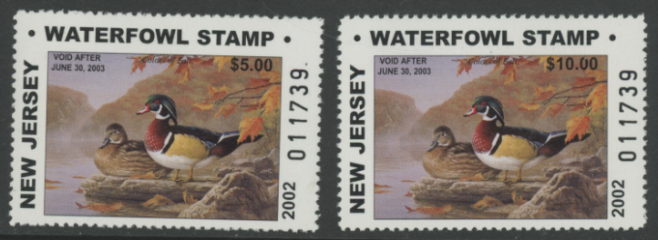 Scan of 2002 New Jersey $5 & $10 Duck Stamps Matching Numbers MNH VF