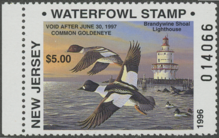 Scan of 1996 New Jersey $5.00 & $10.00 Duck Stamps Matching Numbers