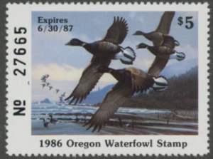 Scan of 1986 Oregon Duck Stamp