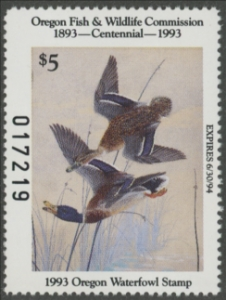 Scan of 1992 Oregon Duck Stamp