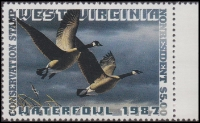 Scan of 1987 West Virginia Duck Stamp NR - First of State  MNH VF