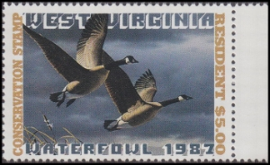 Scan of 1987 West Virginia Resident Duck Stamp - First of State