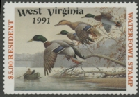 Scan of 1991 West Virginia Resident Duck Stamp  MNH VF