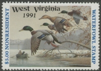 Scan of 1991 West Virginia NR Duck Stamp