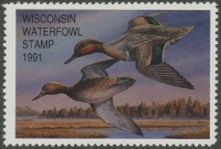 Scan of 1991 Wisconsin Duck Stamp