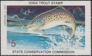 Scan of 1978 Iowa Trout Stamp MNH VF