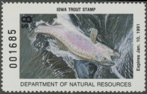 Scan of 1990 Iowa Trout Stamp MNH VF