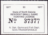 Scan of North Dakota Small Game Stamp