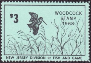 Scan of 1968 New Jersey Woodcock Stamp