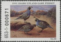 Scan of 1991 Idaho Upland Game Permit Stamp