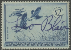 Scan of RW22 1955 Duck Stamp Used