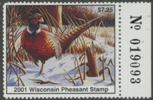 Scan of 2001 Wisconsin Pheasant Stamp MNH VF