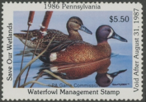 Scan of 1986 Pennsylvania Duck Stamp MNH VF