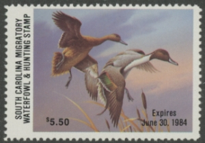 Scan of 1983 South Carolina Duck Stamp MNH VF