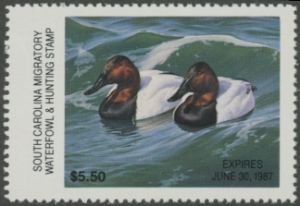 Scan of 1986 South Carolina Duck Stamp