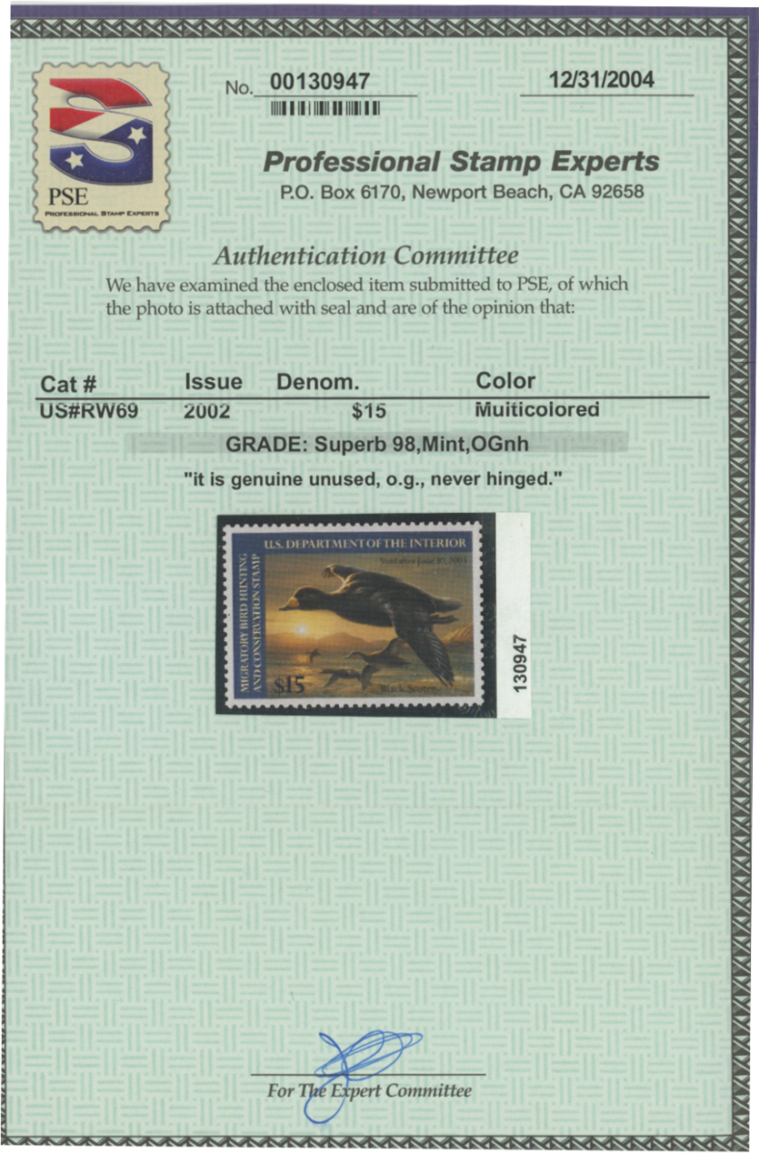 Scan of RW69 2002 Duck Stamp Superb 98
