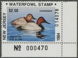 Scan of 1984 New Jersey Duck Stamp - First of State