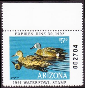 Scan of 1991 Arizona Duck Stamp