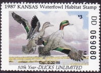 Scan of 1987 Kansas Duck Stamp - First of State