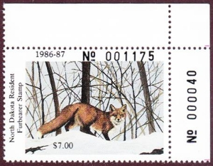 Scan of 1986 North Dakota Furbearer Stamp