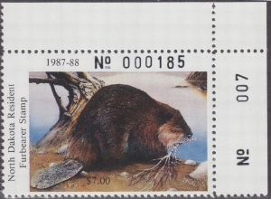 Scan of 1987 North Dakota Furbearer Stamp