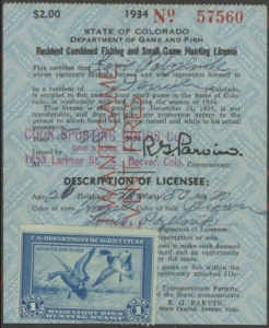 Scan of RW1 1934 Duck Stamp on CO License Unused Fine