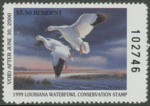 Scan of 1999 Louisiana Duck Stamp Resident