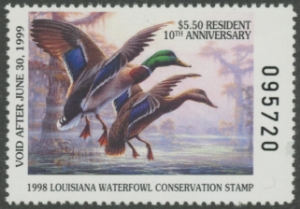 Scan of 1998 Louisiana Duck Stamp Resident