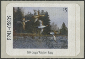 Scan of 1994 Oregon Duck Stamp Self Adhesive