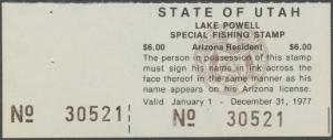 Scan of 1977 Utah Lake Powell Fishing Stamp
