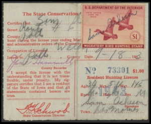 Scan of RW10 Duck Stamp On 1943 Iowa License