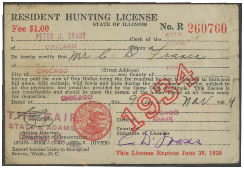 Scan of RW1 1934 Duck Stamp on IL License