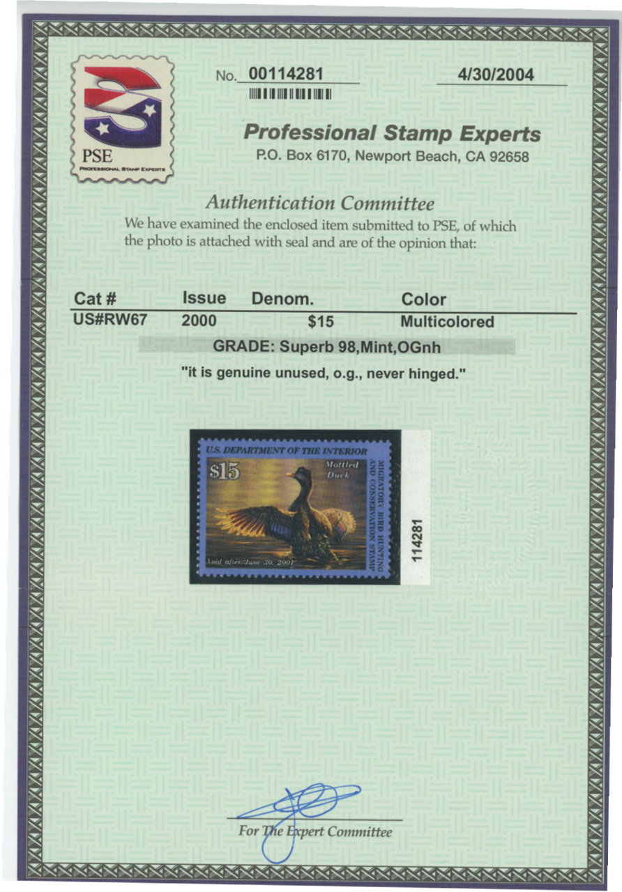 Scan of RW67 2000 Duck Stamp Grade 98 MNH Sup 98