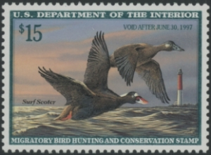 Scan of RW63 1996 Duck Stamp Grade 98 MNH Sup 98
