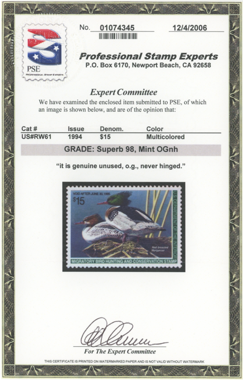 Scan of RW61 1994 Duck Stamp Grade SUP 98